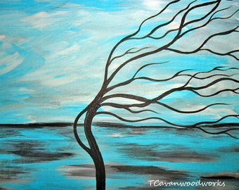 Windswept tree landscape painting. Bright blue cloud filled sky. Abstract whimsical tree wall art