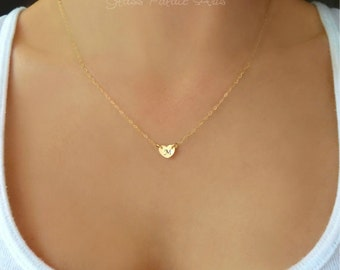 Tiny Heart Necklace, Small Heart Necklace, Initial Necklace, Stamped Heart Necklace, Tiny Necklace Gold, Delicate Necklace, Jewelry Gift