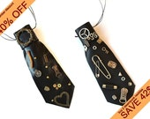 November discount, sale, Set of 2 Neckties-Necklaces, steampunk necktie, gift for couple, gift idea for her and him, woman teenage man gift