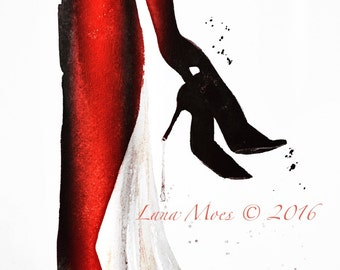 Lady in Red Dress Print from Watercolor Painting - Lana Moes Illustration - Fashion Illustration - Art Print