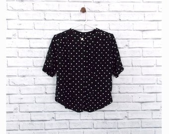 CRUELLA NOIR - T R Bentley Black Polka Dot Blouse | Vintage Short Sleeve Blouse Size Small | Black Blouse with Petite White Polka Dots