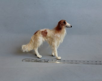 READY TO SHIP Borzoi- greyhound-for Ooak needle felted pet portrait dog in 1:12 scale-dollhouse miniature