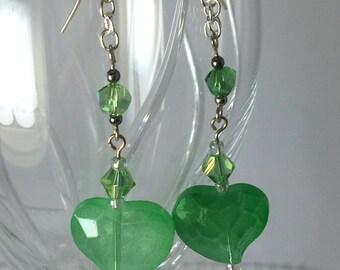 Heart Earrings, Green Heart Earrings, Valentine Earrings, Chandelier Earrings, Sweetheart Earrings, Valentine Gift Earrings