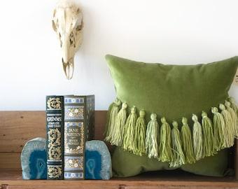 Chartreuse velvet pillow with tassel detail