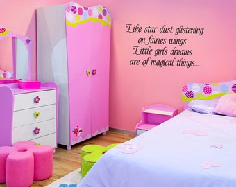 Wall Decal Little Girls Dreams Are Of Magical Things Inspirational Quotes Wall Decals Wall Sticker Wall Quote Decal (V227)