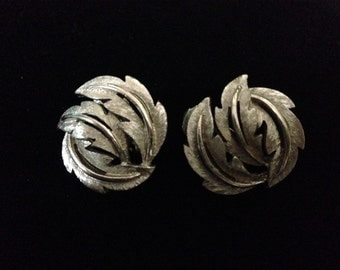 Vintage 1960's Swirling Leaf 'Crown Trifari' Clip-On Earrings (Tier 3)