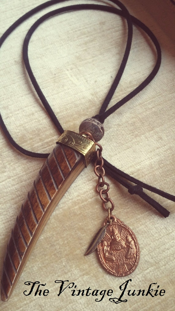 The Vintage Junkie...Layering Boho Leather and Carved Horn Necklace