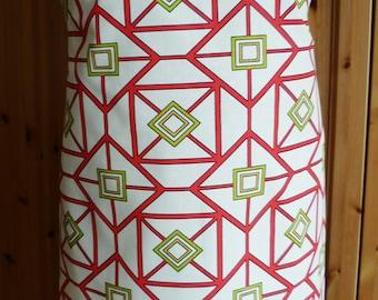 Full length apron - red geometric print