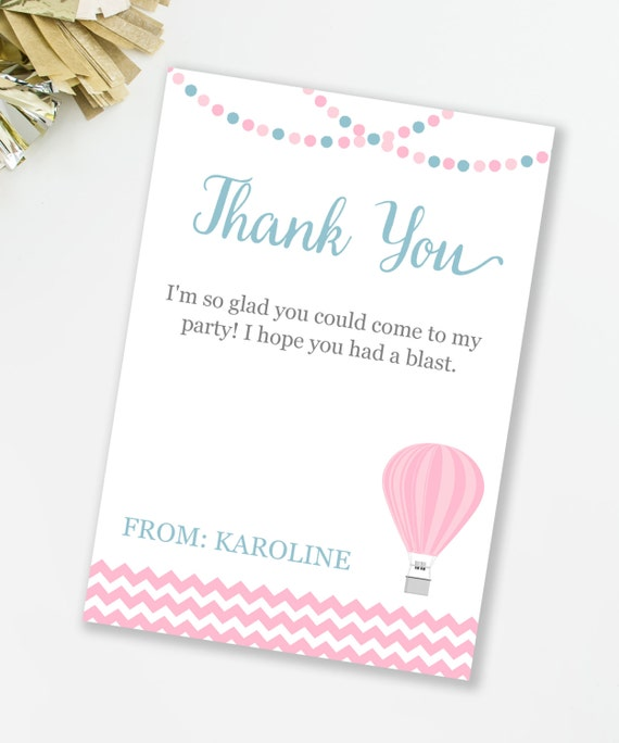 Editable Thank You Card, INSTANT DOWNLOAD, Up and Away Birthday ...