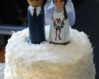 Hand-Painted Wooden Peg Custom Wedding Cake Toppers #3