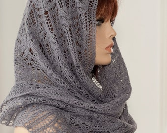 Hand knitted rectangular gray scarf with beautiful lace pattern, woolen scarf, woolen shawl, for women, for girls