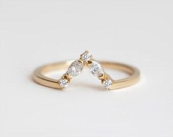 V Diamond Ring, V Wedding Band, V Wedding Ring, Stacking Diamond Band, Diamond Wedding Ring, Diamond Wedding Band