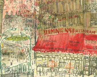 GARE DU NORD Paris Painting, Signed Parisian Print, Terminus Nord Restaurant Hotel, Pencil Drawing, French Building Watercolor, Metro Sign