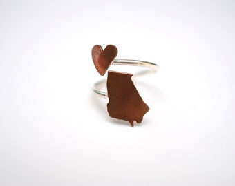 Georgia State Twist Ring (Sterling Silver & Copper Place State Love Map Ring)