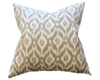 "Tan and Cream Ikat Designer Pillow Cover- Accent Pillow- Throw Pillow- Neutral Pillow- Finished Size 20""- Holds 22"" Insert"