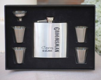 Stainless Flask Wedding Personalized Groomsmen Gift Set 5 Flasks Personalized Wedding Party Gift Custom Flask Best Man Gift Engraved Flask