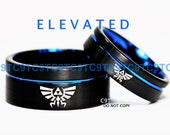 10MM & 6MM Tungsten Wedding Set, Legend Of Zelda Inspired, Brushed Black With Deep Ocean Blue Infinity Groove, Free Inside Engraving