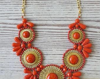 Orange Statement Necklace - Orange Necklace - Orange Jewelry - Shop Necklaces