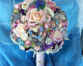 Alice in Wonderland Wedding-Flower Bouquet-Pastel-Wedding Bridal Flowers-Brides Brooch Bouquet-Victorian Alice Wedding-Disney-Disney Flowers