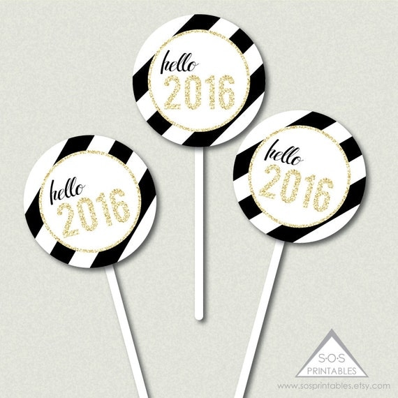 Hello 2016 Printable Cupcake Topper from SOS Printables on Etsy