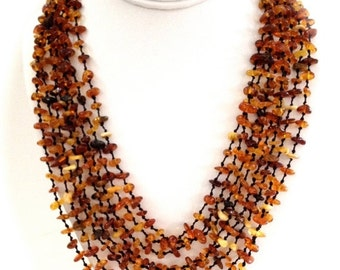 Baltic Amber Multi Strand Necklace, Natural Amber Nuggets, Eight Strands, Toggle Clasp, 1980s