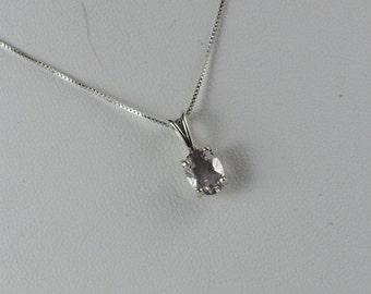 Sterling Silver Pendant/Necklace - Rose Quartz Pendant/Necklace -  Sterling Silver Setting with 6mm x 8mm Natural Rose Quartz Stone