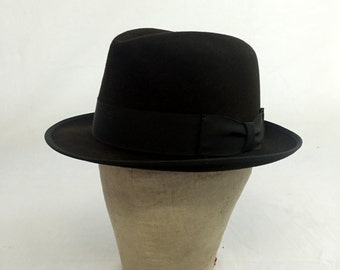 Vintage 50s / 60s Brown Felt Fedora Hat by Adam Size 6 7/8 --- With Original Hat Box! --- Small