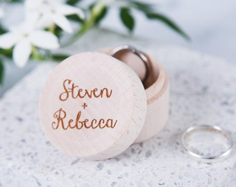 Personalised Couples Ring Box - Personalised Wooden Ring Box - Wedding Ring Box - Rustic Ring Box - Gift for Couples - Ring Bearer Box