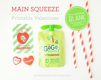 Printable Valentine's for Kids Applesauce Valentines BLANK Labels Non Candy Valentine INSTANT DOWNLOAD