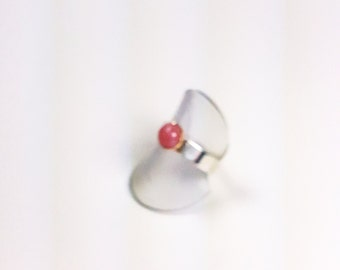 Pink Opal RIng, Silver and Gold Pink Opal RIng, Wide Band silver ring, gold bezel, 14k gold bezel, sterling silver ring, opal ring