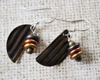 Corrugated Copper dangling earrings,  metal earrings, rustic earrings, artisan earrings