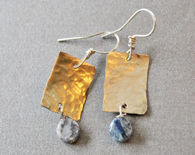 Silver nickel metal and blue Kyanite stone earrings, hammered metal earrings, rustic earrings, artisan earrings
