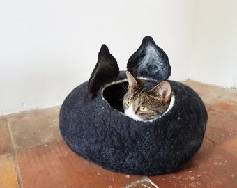 Black Cat Bed Cave House Felted Wool with ears ideal cat lovers gift