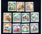 11 Italian Castle Postage Stamps - Scrapbooking, Cardmaking, Crafts