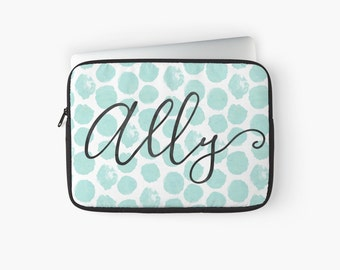 Personalized Laptop Sleeve - Laptop sleeve for Macbook Air, Macbook Pro, with mint green watercolor dots, calligraphy monogram
