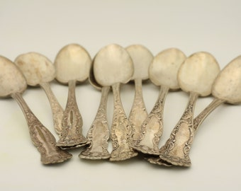 Set of 9 vintage spoons, silver, antique spoon set