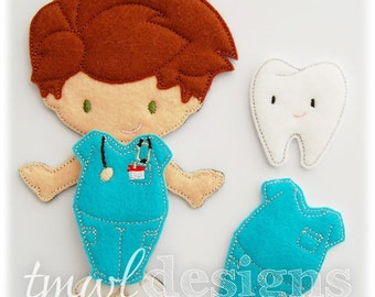 Nurse Scrubs Felt Paper Doll Toy Outfit Digital Design File - 5x7
