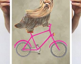 Yorkshire Terrier dog poster, dog decor dog illustration dog picture dog gift for dog lover dog Print  yorkie print, yorkshire on bicycle