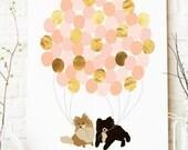 Baby Shower Guest Book Alternative - Dog Baby Shower Decor - Gold Baby Shower - Nursery Art - Canvas Guest Book - Dog Theme Baby Shower