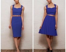 Kirsten or Grace Sweetheart Neck Top Two Piece Co Ords Set in Royal Blue. Choose Pencil Skirt Set or Skater Skirt Set with Strappy Crop Top