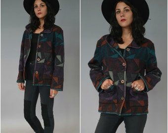 SALE 1990s southwest patterned wool button down jacket