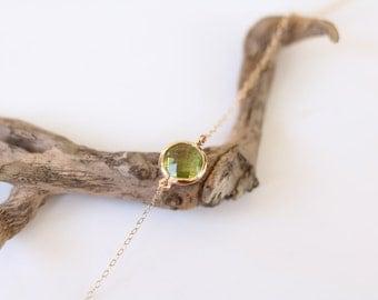 Peridot Bracelet - Charm Bracelet - Gemstone Bracelet - Gold Bracelet - Stone Bracelet - Arm Candy - Green Quartz - Stacking Bracelet
