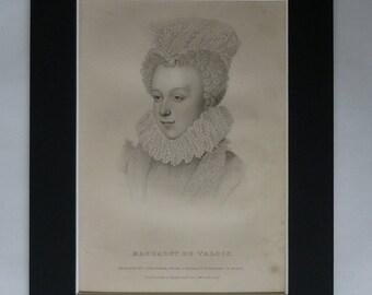 1849 Antique French Tudor History Print of Margaret of Valois Queen of France Available Framed Portrait Art Samuel Freeman Stipple Engraving
