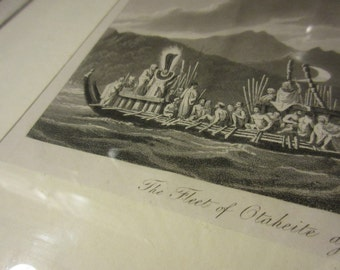 Antique 18th Century Captain Cook second voyage William Hodges Framed copperplate etching Engraving, Fleet of Otaheite Assembled at Oparre