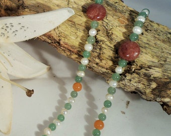 Muscovite, Freshwater Pearl & Red and Green Adventurine Necklace