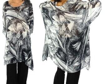 HO200GBT3 tunic plus size blouse chiffon Gr. 42-56 black/white