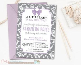Little Lady Baby Shower Invitation, Damask Baby Shower Invitation, Little Lady Party, Purple Baby Shower Invitation, Purple and Gray
