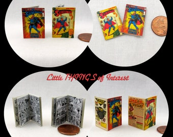 2 Miniature SUPERMAN COMIC Books Miniature Comic Dollhouse 1:12 Scale ** 2 For 1 **