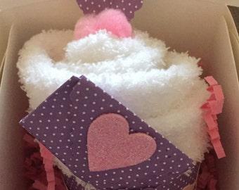 Heart Cupcakes/Love Gifts/Cupcake Socks-Fuzzy Socks-Cupcakes-Love-Gift-Thoughtful Gift-Fun-Party Favor*Teacher Appreciation-Spa Day