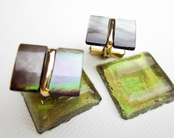 Cuff Links Mother of Pearl, Art Deco 1930s, Gold Filled, Oyster Shell,  Swank USA.